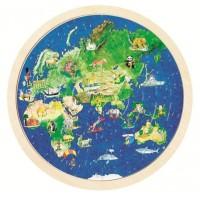 Goki: De aaarde houten puzzel rond dubbelzijdig