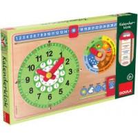 Goula: Houten kalender klok ( nieuw in doos)