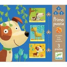Djeco: Primo Puzzle honden ( 4-6-9 stukjes )