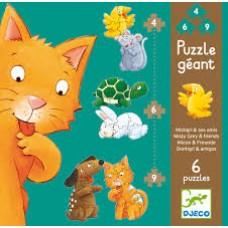 Djeco: Puzzle geant Poes en zijn vriendjes ( 2x 4-6-9 stukjes)
