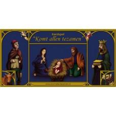 """Kerstspel """"komt allen tezamen""""( spel bestaande uit 108 speelkaarte, het kerstverhaal en spelregels)"""