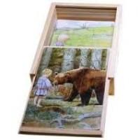 Beskow, Elsa: Vier houten puzzels van 12 stukjes in houten box
