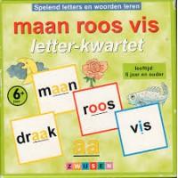 Maan roos vis letter-kwartet van Zwijsen